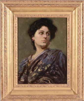 Lot 125, Sir Alfred James Munnings, P.R.A., R.W.S. (British 1878-1959) A Gypsy Queen, Oil on canvas, 40 x 30cm Est. £8,000-12,000