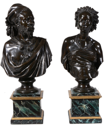 Lot 219, Charles Henri Joseph Cordier (French 1827-1905) Venus Africaine and Saïd Abdullah of the Mayac, Kingdom of Darfur (Sudan) patinated bronze, 42 and 41cm high, signed Cordier and Simonet Fils & Cie Vendeur à Paris to the reverse Est. £15,000-25,000