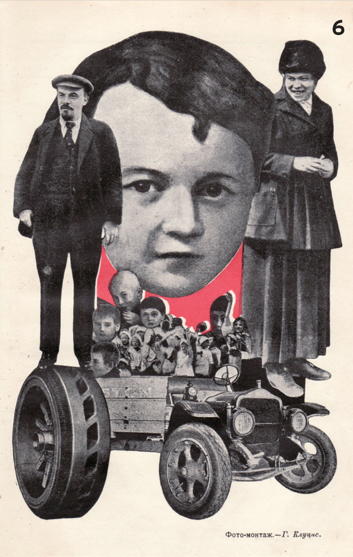 6. Gustav Klutsis (1895-1938)  Photomontage for magazine Molodaya Gvardiya. Lenin is Standing on the Border of Two Epochs in Development of Humankind (Lenin stoit na grani dvukh epokh v razvitii chelovechestva), 1924.   ©Ne boltai! Collection, Prague
