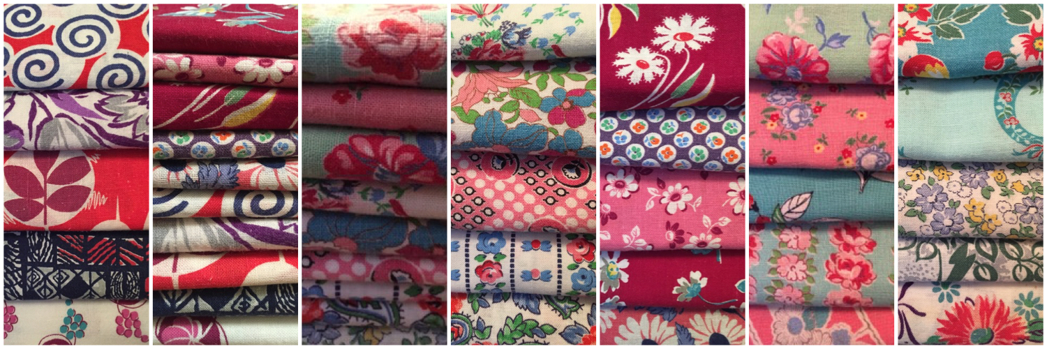 A fantastic selection of genuine feedsack fabric - available from Donna Flower Vintage