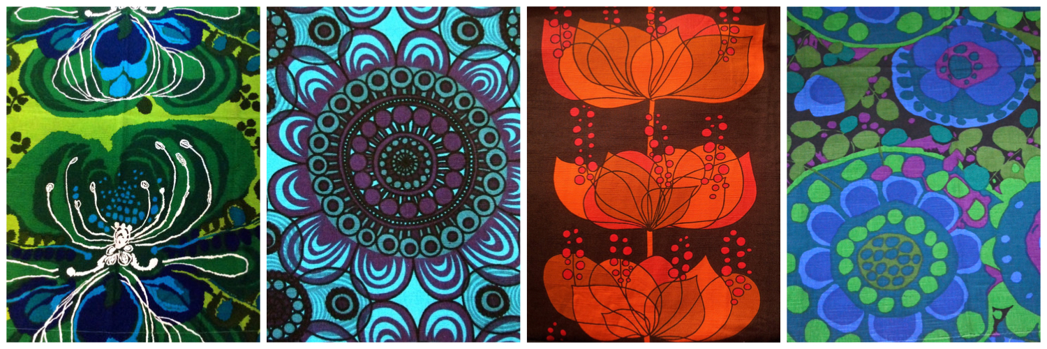 Beautiful bold 60s Borås fabrics from Sweden. Left to Right - 'Orchid' by Saini Salonen, 'Bacardi' designed by Greta Moller, 'Rio' designed by Helene Wedel, 'Vanja' designed by Saini Salonen