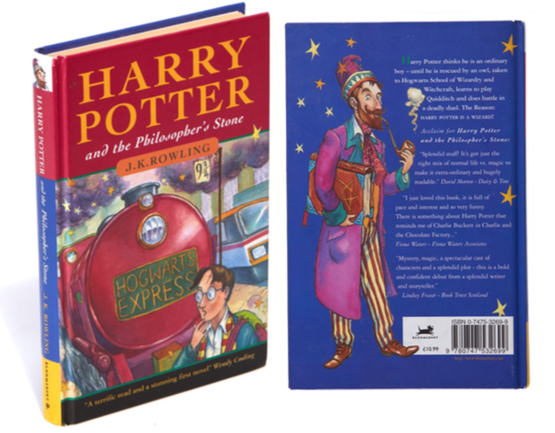 Front and back cover of   Harry Pottter and the Philospher's Stone,   1997, est. £25,000-£28,000