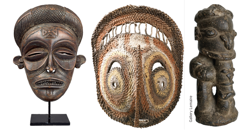 A wooden Chokwe mask (far left) from the Democratic Republic of Congo, 24cm high. This was for sale last September in the Woolley and Wallis Tribal Art & Antiquities sale, estimated at £200 – 300. An Abelan Yam mask from Papua, New Guinea (centre) and this 13th to 17th century Nomoli Stone gure from Sherbro, Sierra Leone (right) were both at the Tribal Art London fair   in 2014. Priced £325 and £5,800 repectively