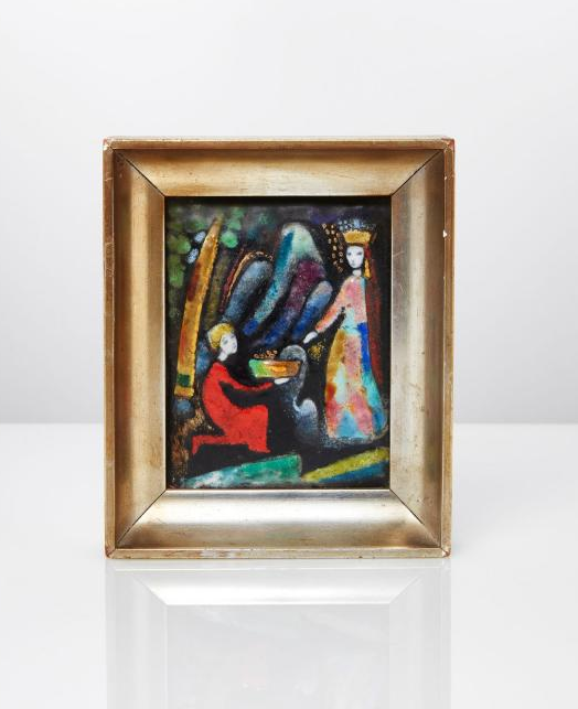 An Enamelled Panel by M.Cyrenius - possibly Maria Cyrenius - Signed on reverse M. Cyrenius, Wien, XIX,19.  Painted with figures in a landscape, framed - Frame 12.3 x 10.3 cm. - Estimate £100-150