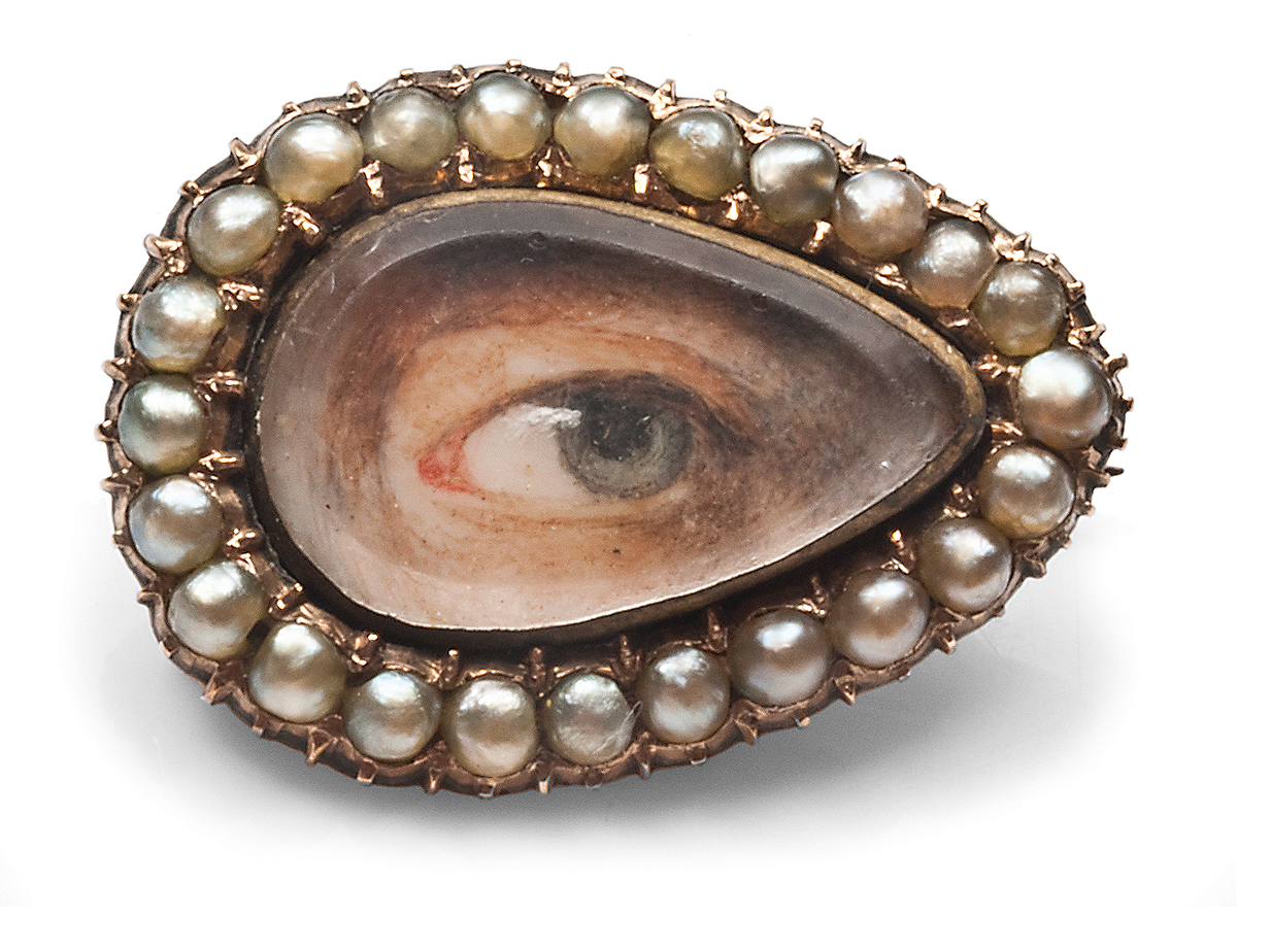 An eye portrait (c.1820) set with pearls, denoting tears