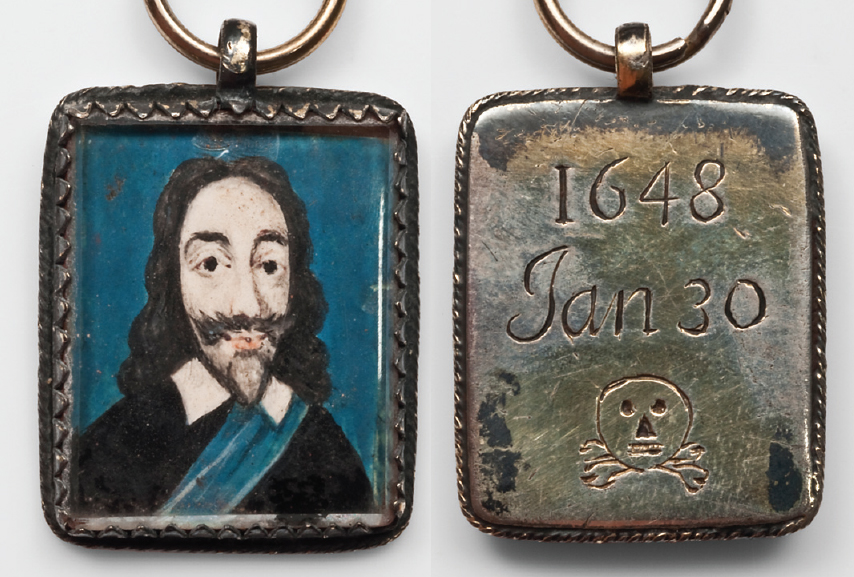 A Royalist silver pendant marks the execution of Charles I, the watercolour image on vellum echoing the King's Garter sash with a background of celestial blue. The 1648 date is accurate – in the old calendar the new year did not start until March