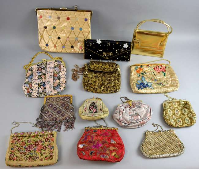 Twelve 1930s to 1970s evening bags in beaded, embroidered, metal and leather finishes, together with an unusual 1950s bag with a lucite handle in the Vintage Fashion & Textiles sale later the same day