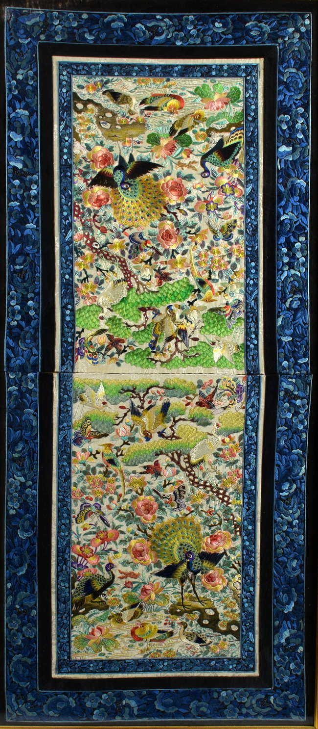 Detail of an embroidered Chinese panel entered in the Asian Art sale, depicting a wide variety of birds - peacocks, parrots and water birds - estimated at £250-350