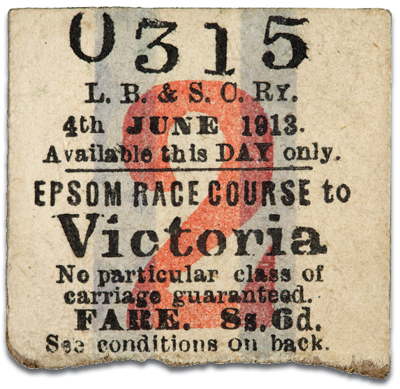 The return half of Emily Davison's Derby Day ticket, found in her bag after her death!  courtesy of  The Women's Library@LSE