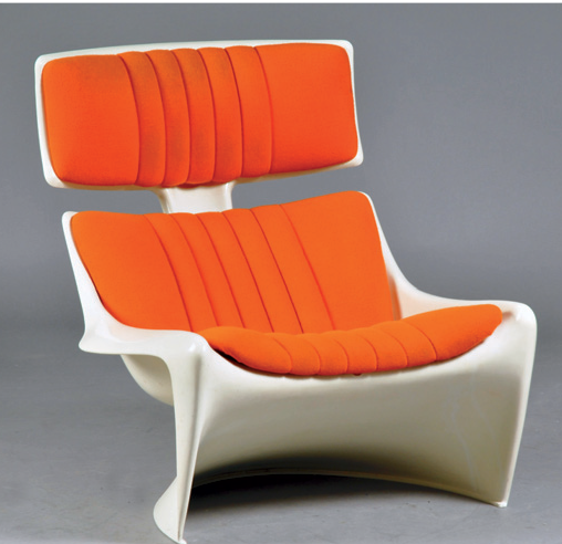 1968 lounge chair made of moulded plastic and fabric. Designed for Cado by Poul Cadovius and Steen Østergaard