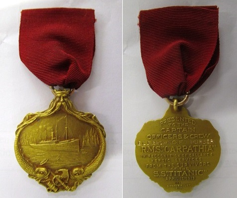 A Titanic – Carpathia 14K gold medal by Deiges & Clust named to E.G.F Brown, Purser on the SS Carpathia, suspended on a red ribbon and in original box   as   issued.   Pre-sale estimate £18,000 - 25,000