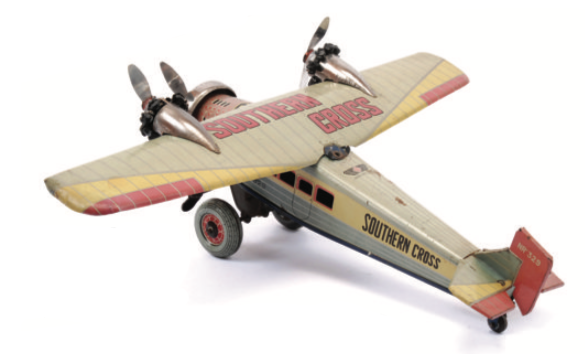 A pre-war Japanese Fokker Tri-motor Monoplane 'Southern Cross' NR329 made by Eiichiro Tomiyama made to commemorate the 1st transpacific flight from Australia to the USA in 1928. Sold for £600 in March 2014