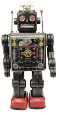 1960s battery operated 'Fighting Robot' with plastic dome and protruding gun, 12in/30cm tall. Sold for £60 in September 2014