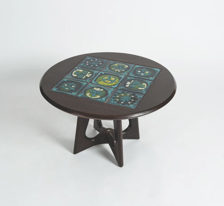 Oak coffee table with glazed ceramic tiled top. POA  www.maisongerard.com
