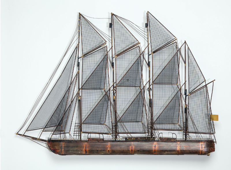 Sailboat. Metal wall sculpture, signed Curtis Jeré and dated 1975. Width: 108cm.  Price: £1,950. Available from Talisman