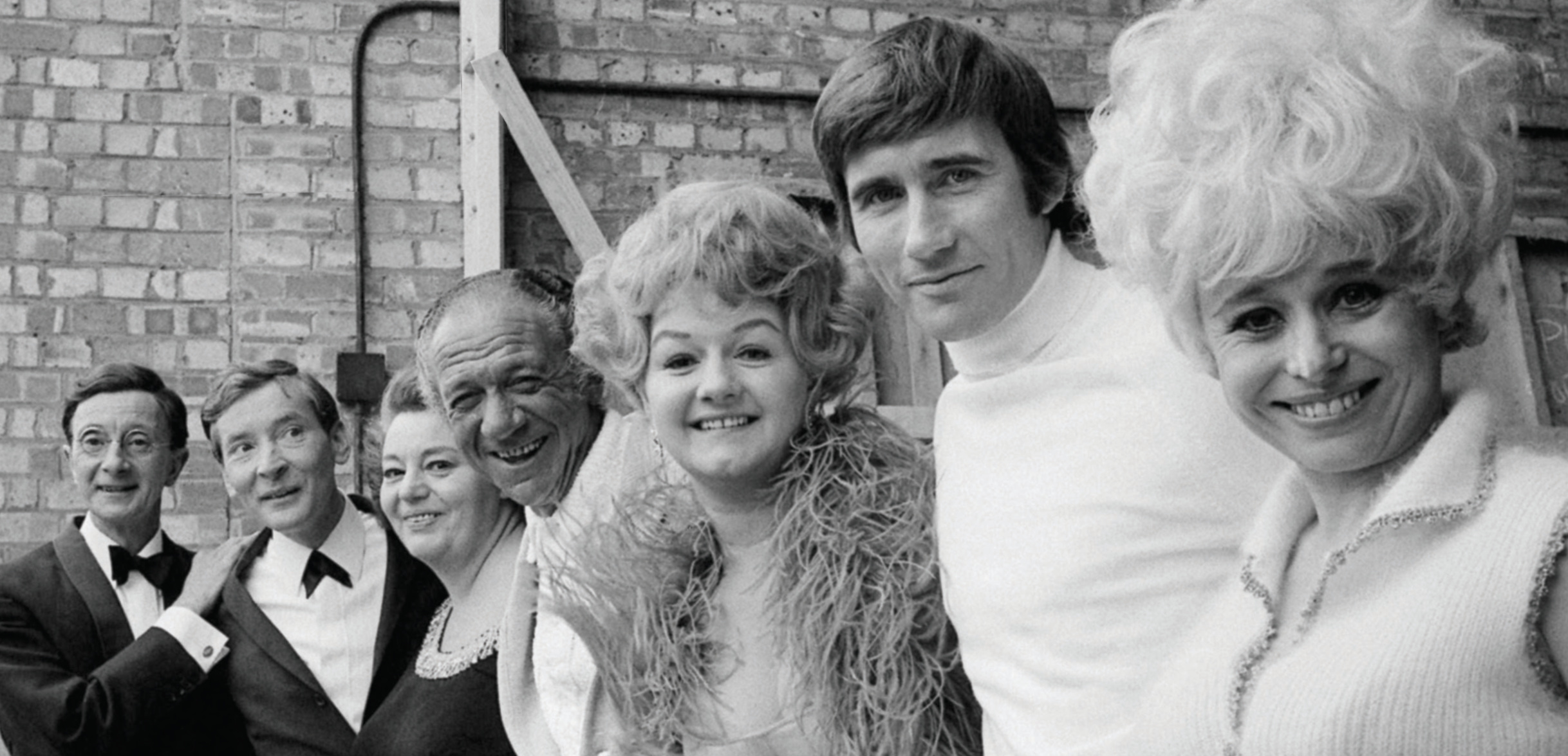 Pictured during a break filming  Carry On Again Doctor  in April 1969 at Pinewood Studios: Charles Hawtrey; Kenneth Williams; Hattie Jacques; Sid James; Joan Sims; Jim Dale; Barbara Windsor.