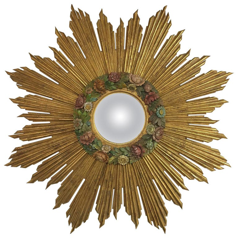 Large Gilded Mirror with Barbola Flowers
