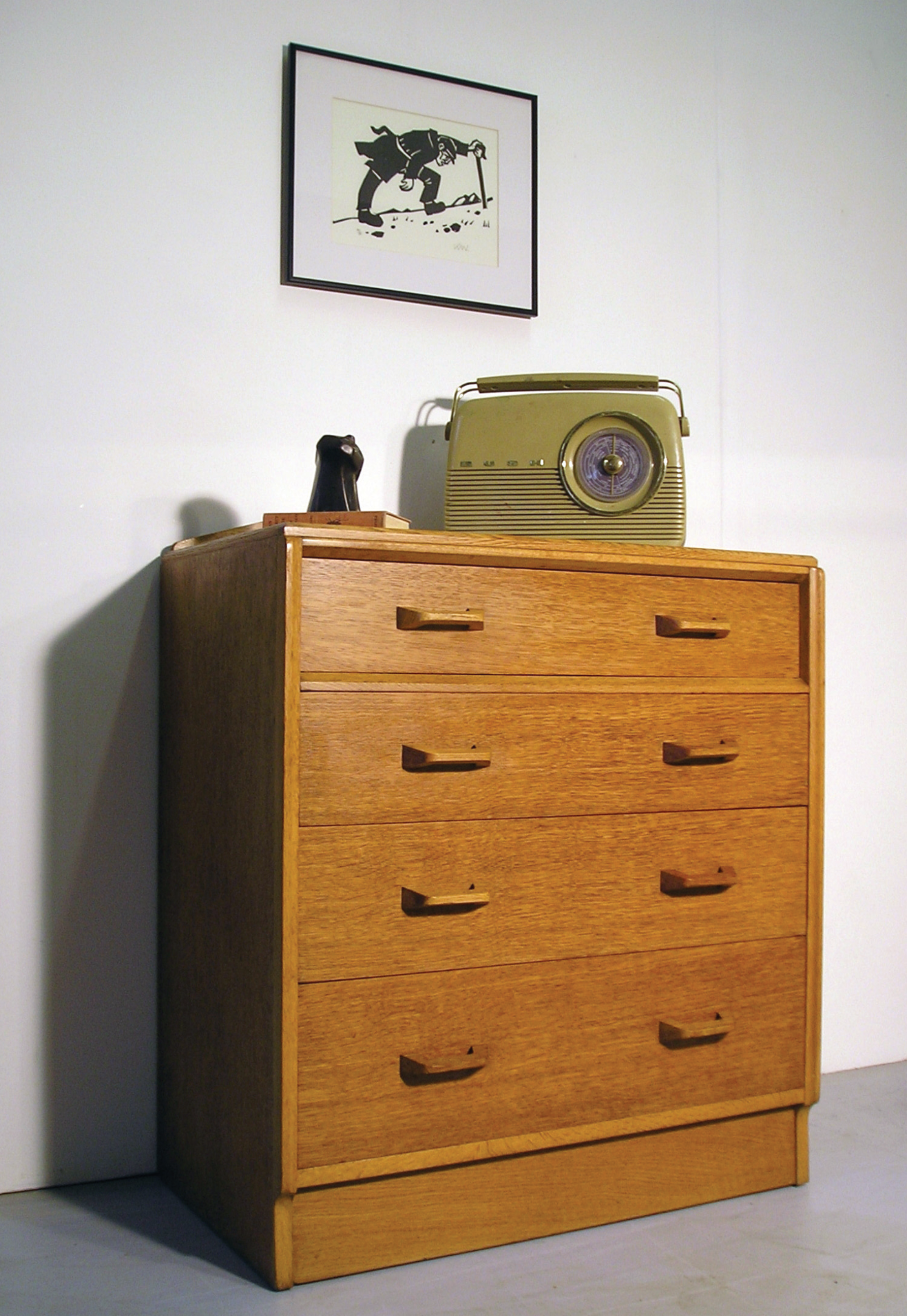 LEFT: This chest of drawers in golden oak from the Brandon range has the Gomme gold stamp. It was designed in 1954 by Victor Bramwell Wilkins