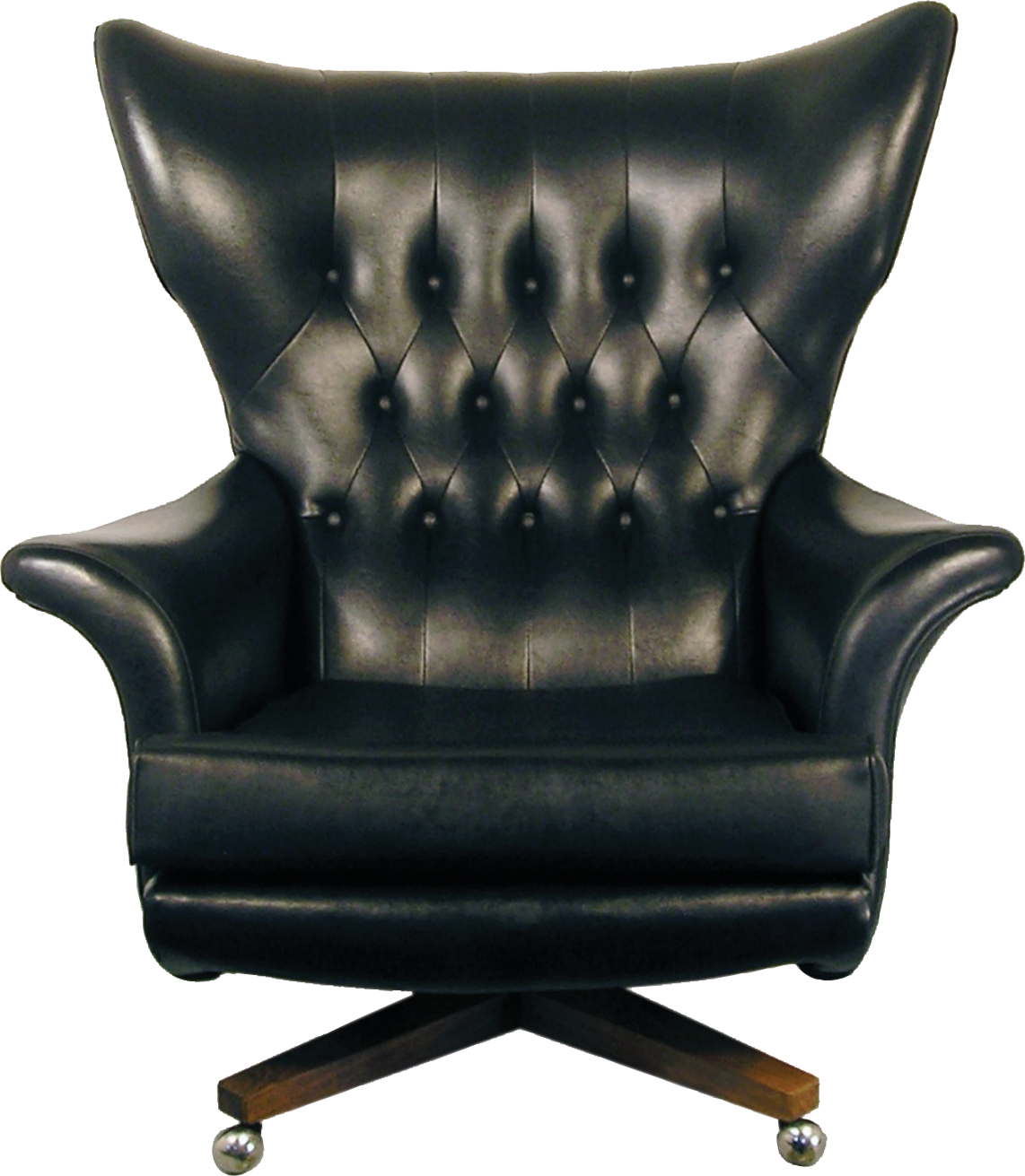 ABOVE: In the early 1960s G-Plan introduced a large, rounded swivel armchair with wings. It was available in several fabrics, but the buttoned  black vinyl version became a classic. They proudly claimed it was  'the most comfortable chair in the world'.