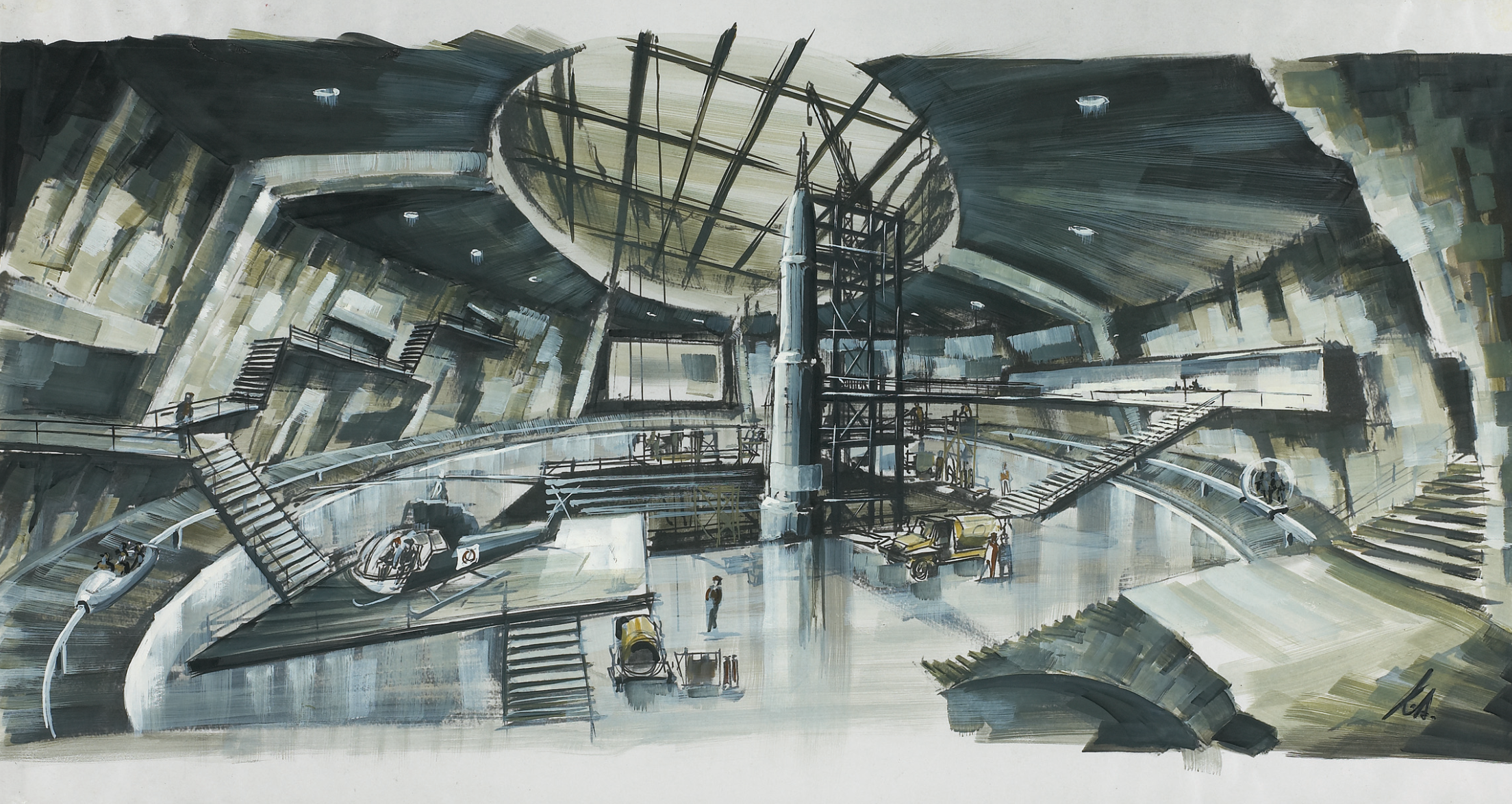 Ken Adam's early concept art for the volcano set on You Only Live Twice.