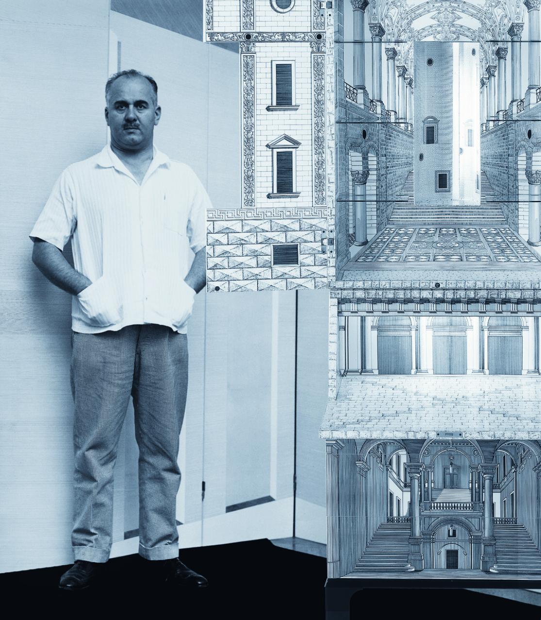 Piero Fornasetti with The 'Architettura' Trumeau-bar