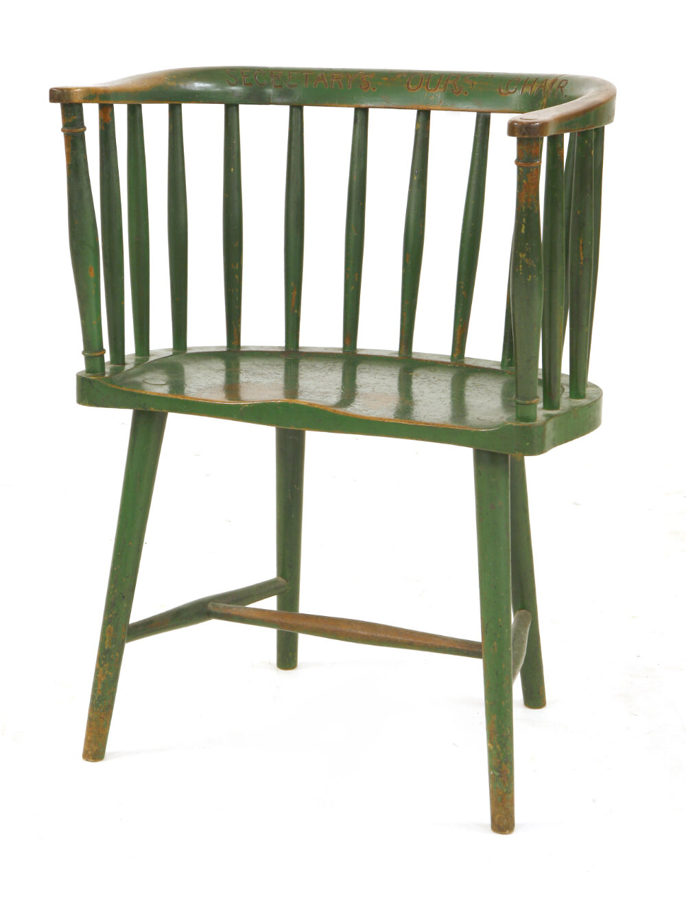 Charles Rennie Mackintosh (1868-1928), a green painted Windsor chair, designed for Miss Cranston's Dutch Kitchen, Argyle Tearooms, Glasgow, 1906, with a later inscribed top rail 'Secretary's OURS Chair'.    Estimate: £5,000-7,000