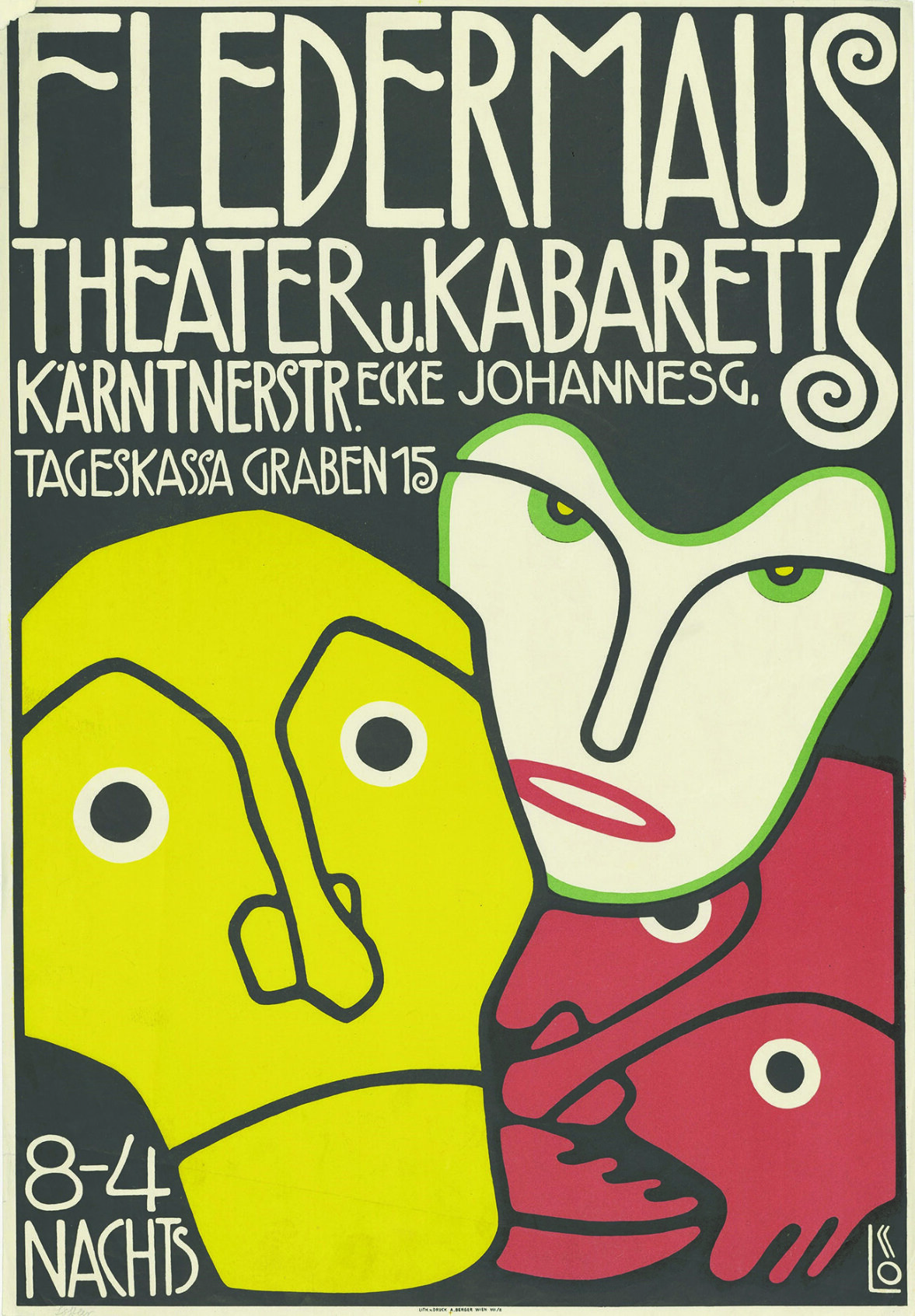 Bertold Löffler - Poster for the Cabaret Fledermaus, 1907 ©The Albertina Museum, Vienna