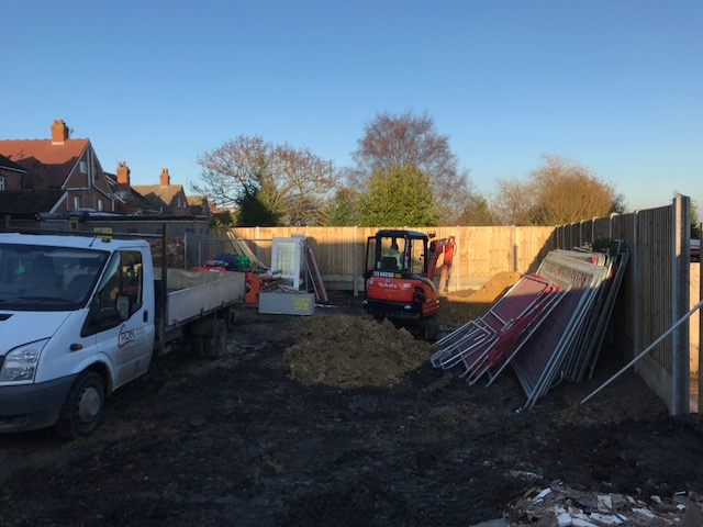This photograph shows the first strip of foundation being dug, nothing special as of yet but watch out for more posts on progress.