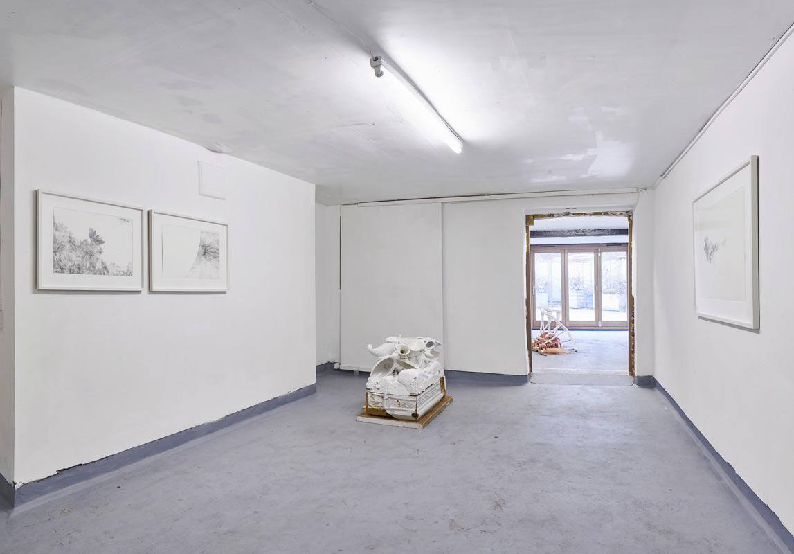 Installation image: 'Internal Structure:External Form', Angus Hughes Gallery, 2018. Sculptures: Hermione Allsopp