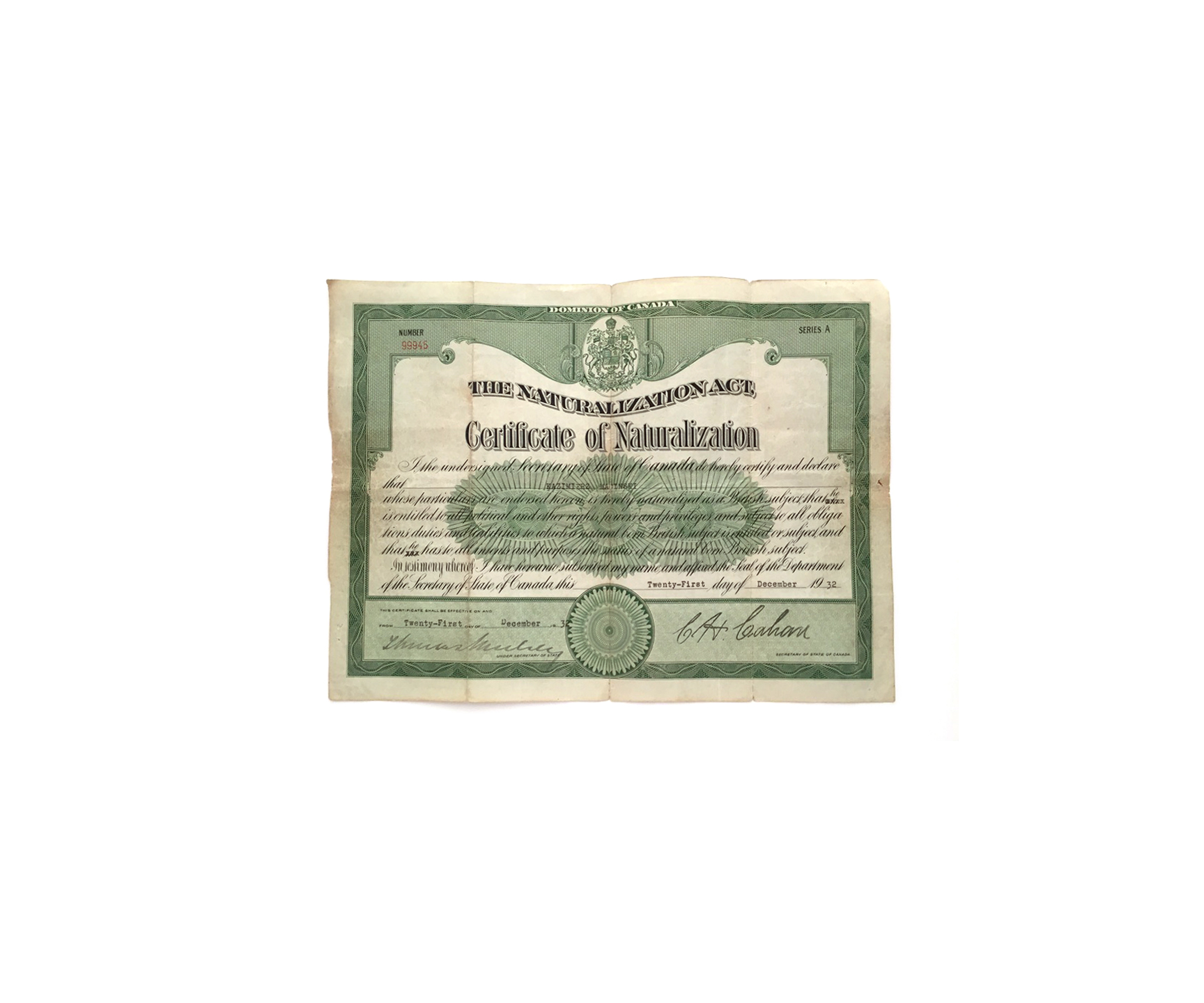 Front of Certificate of Naturalization Issued in 1932 to Kazimierz Macinski