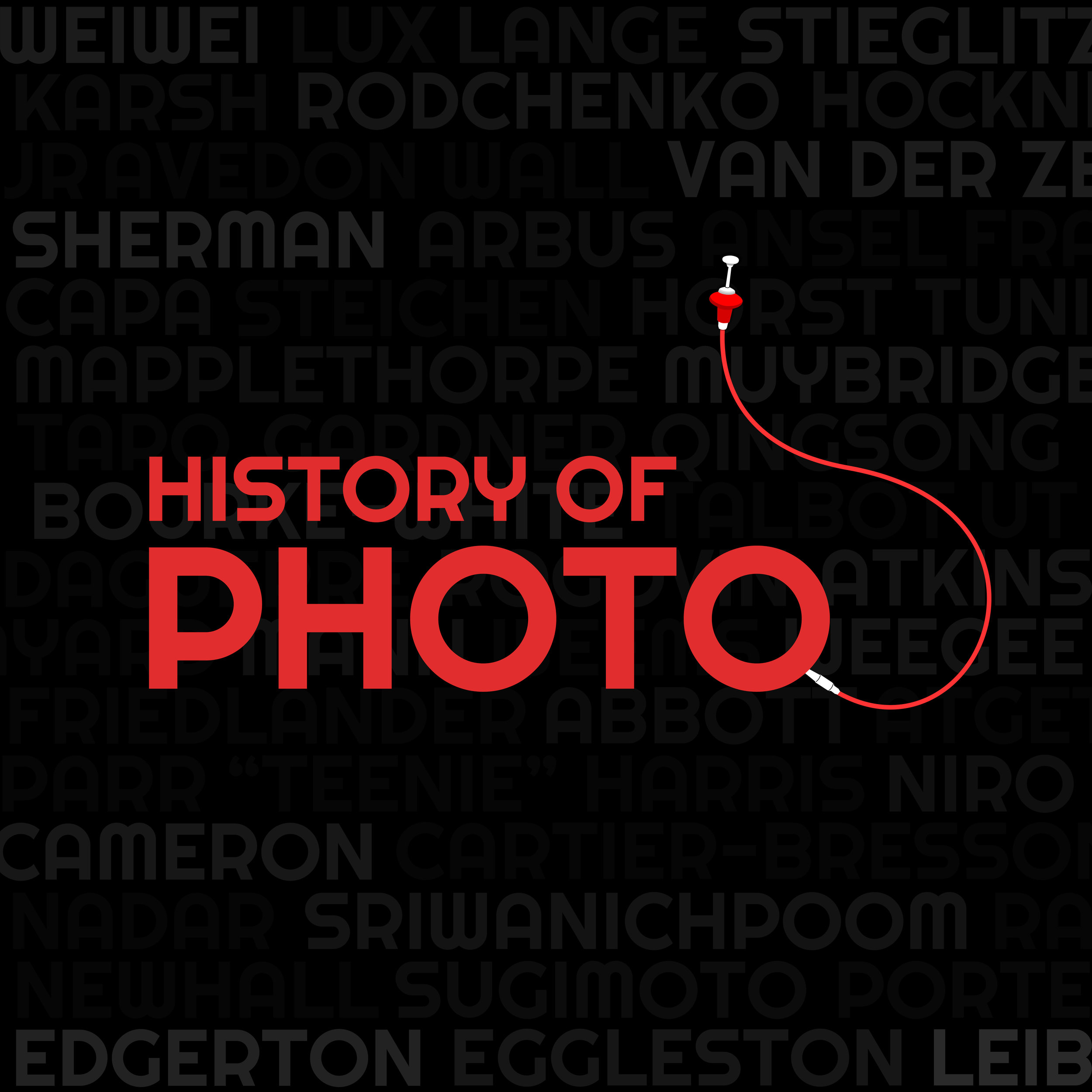The History Of Photo Logo, designed by me. Wanted to use something old school, the cable release, and also pay homage to some classic camera logos so I used red for the font. In the background is the names of some of the great photographers we will be looking at in this podcast.