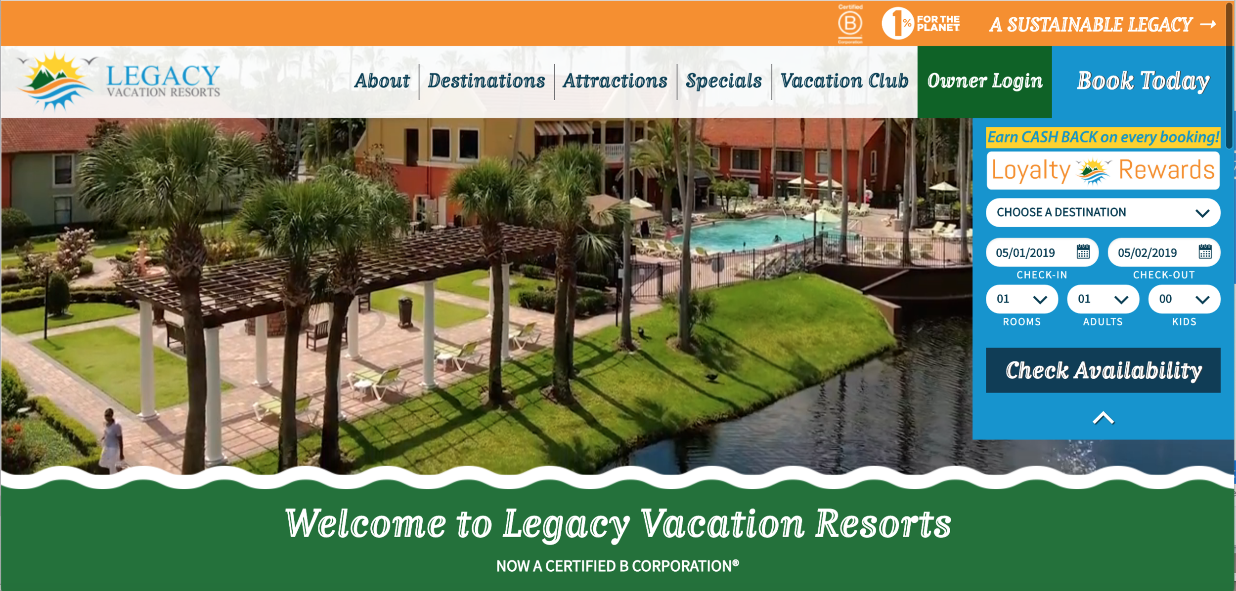 homepage of Legacy Vacation Resorts