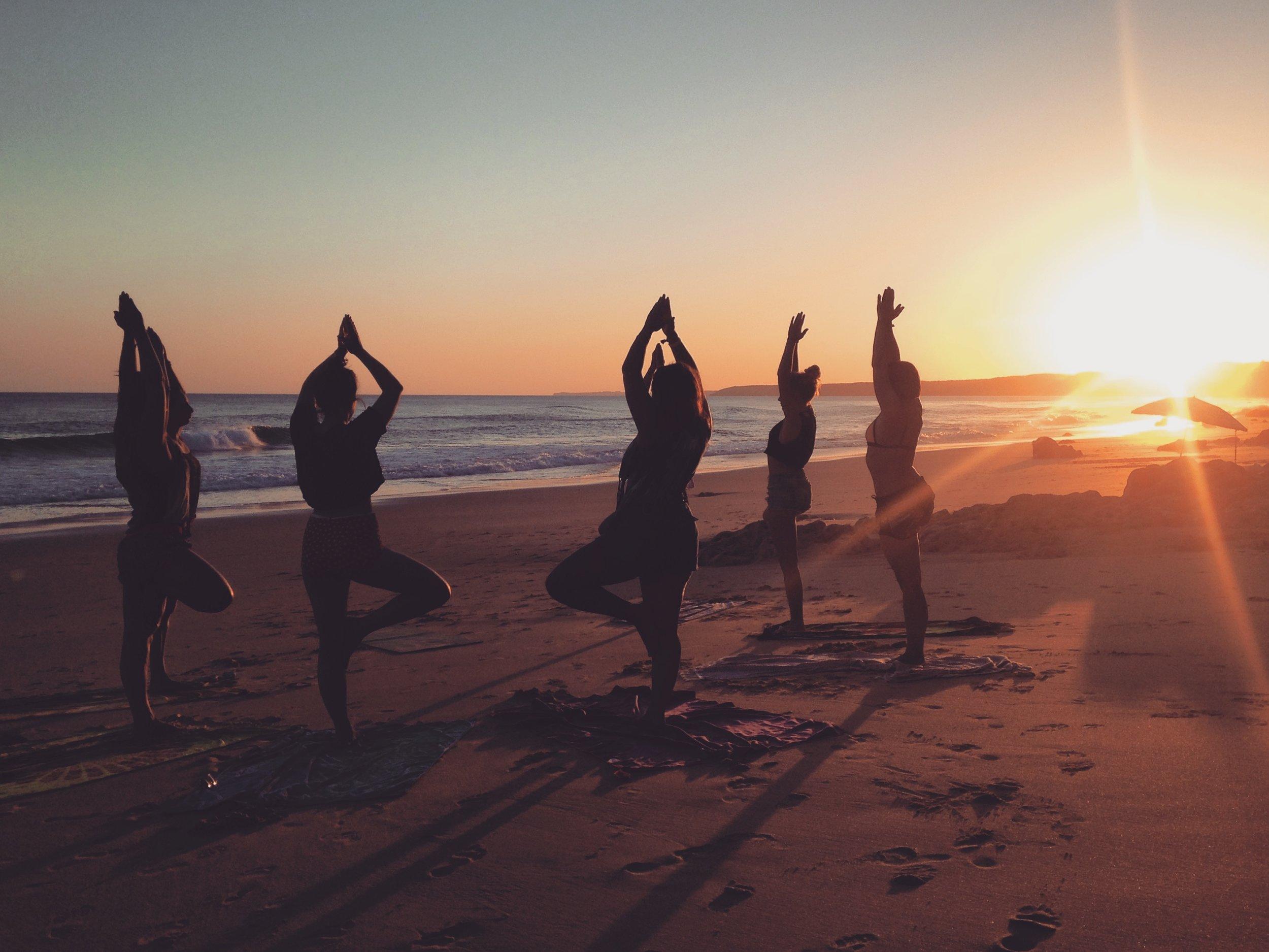 Beach Yoga Session Retreat MekaYoga Portugal