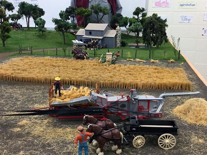 Brad Baird's farm layout wheat threshing scene