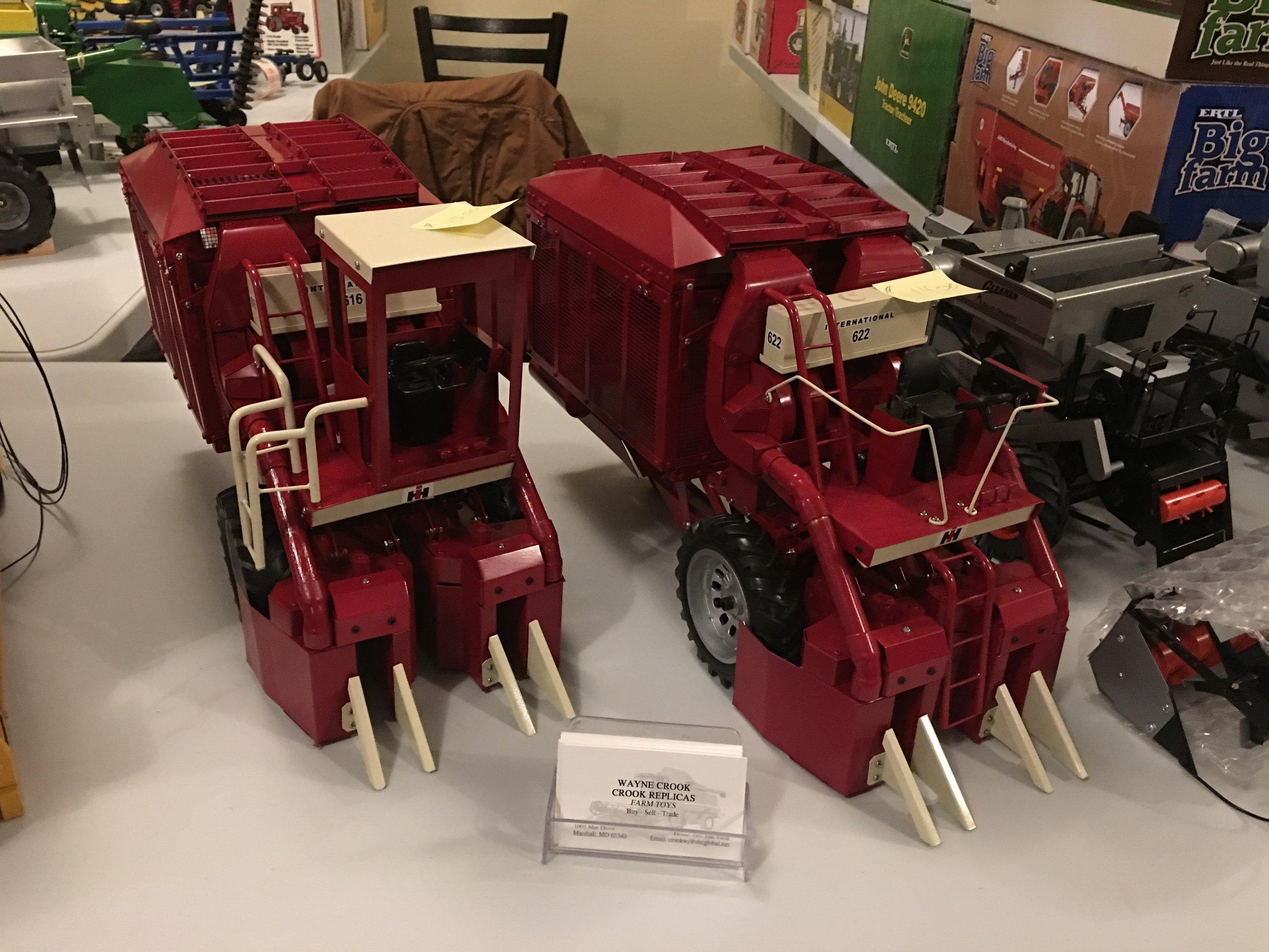 Wayne Crook's beautiful cotton pickers on display.
