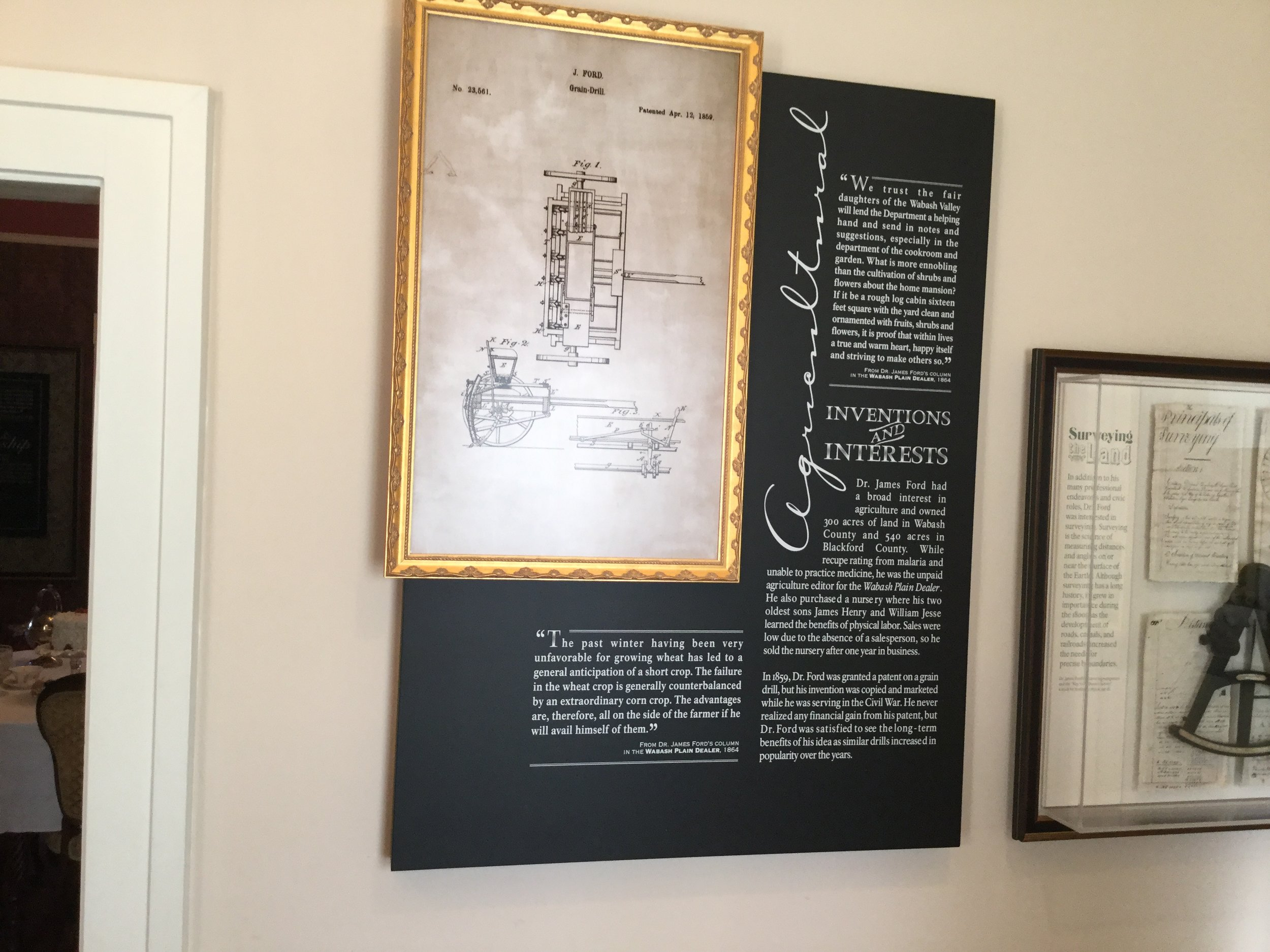 This placard in the Dr. James Ford Historic Home shows Dr. Ford's patent for his grain drill invention.