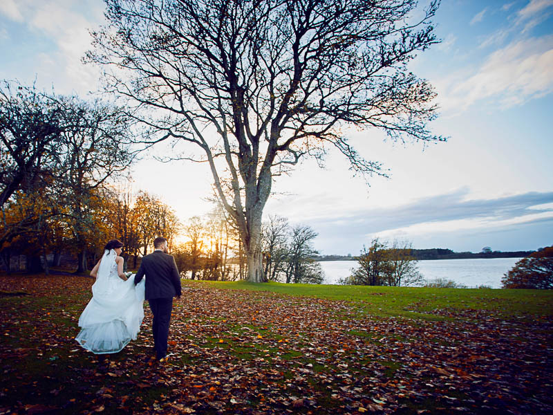Tulfarris Hotel & Golf Resort wedding couple with views of Blessington lakes.jpg