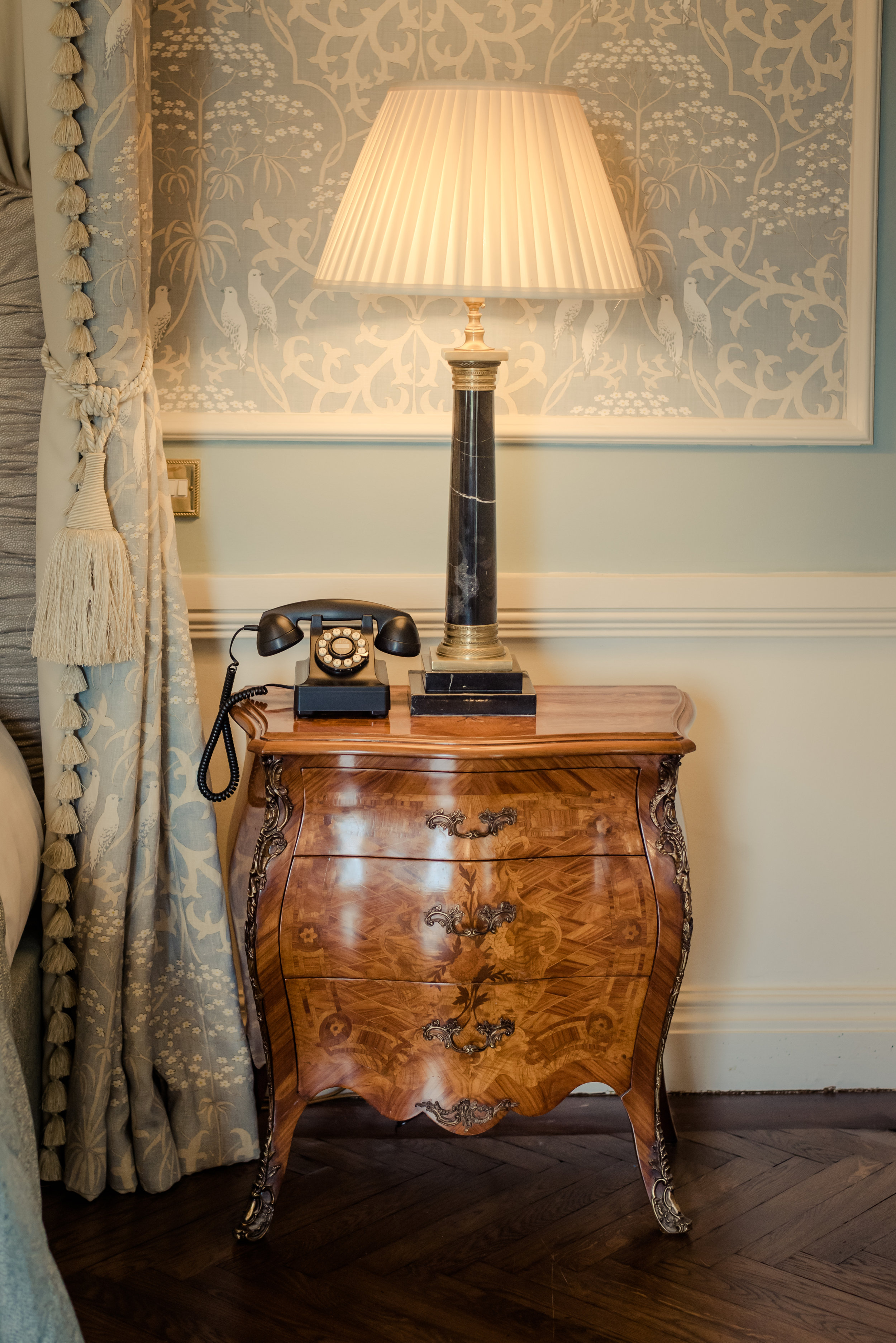 Tulfarris Hotel & Golf Resort bridal suite bedside locker and classic style telephone.jpg
