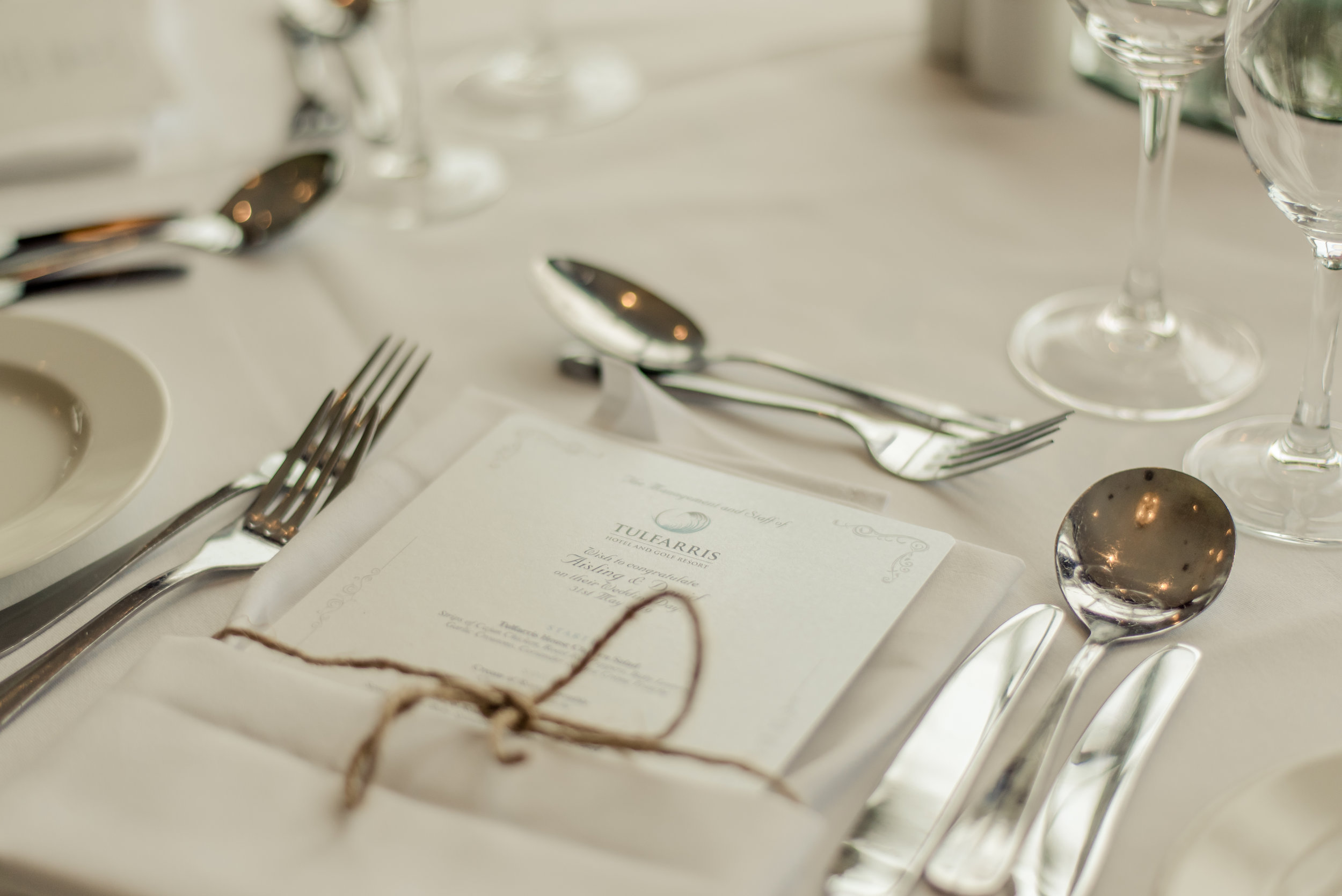 Tulfarris Hotel & Golf Resort intimate wedding dinner menu.jpg