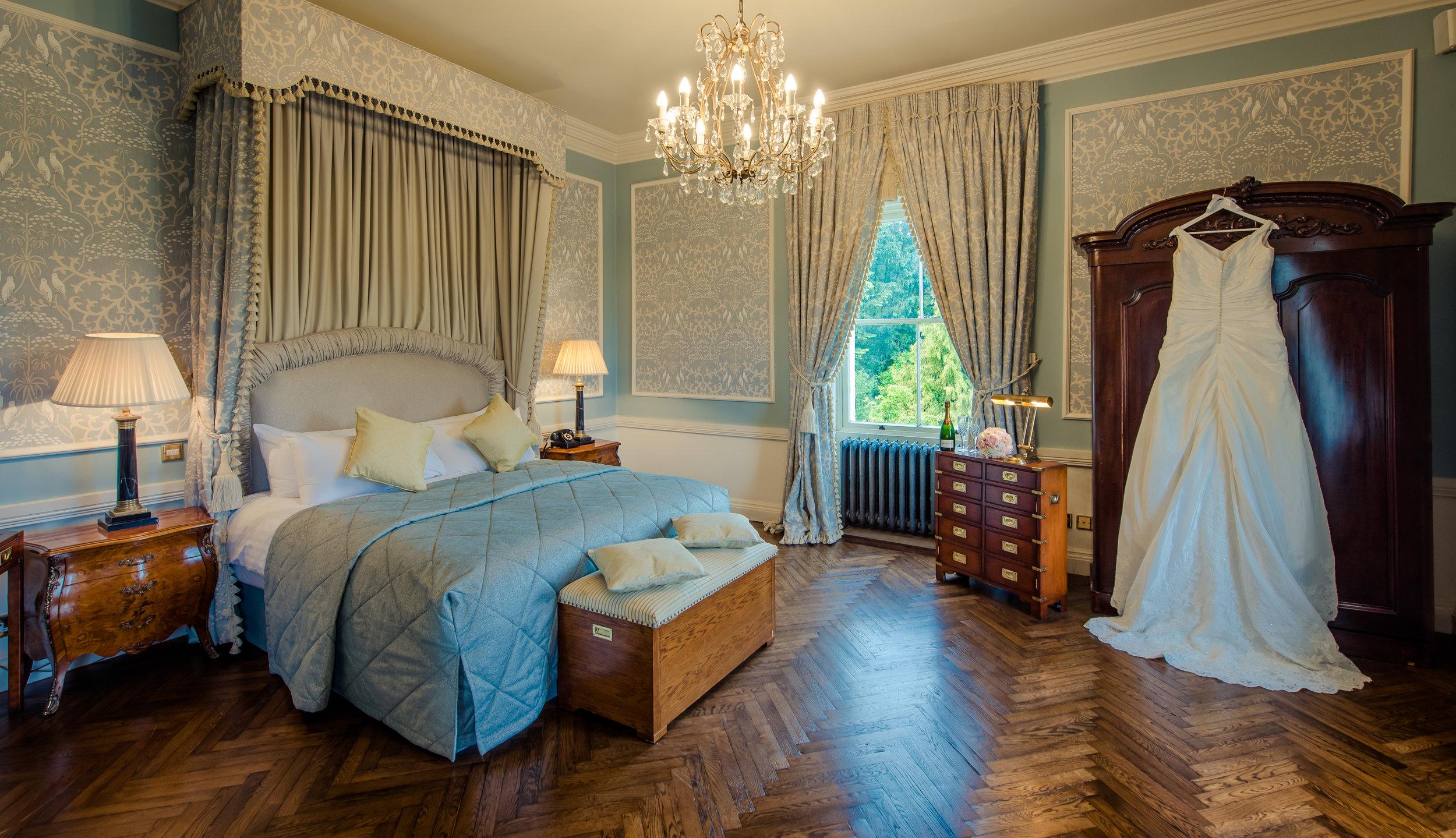 Tulfarris Hotel & Golf Resort Wych Hazel bridal suite with wedding dress hanging up.jpg
