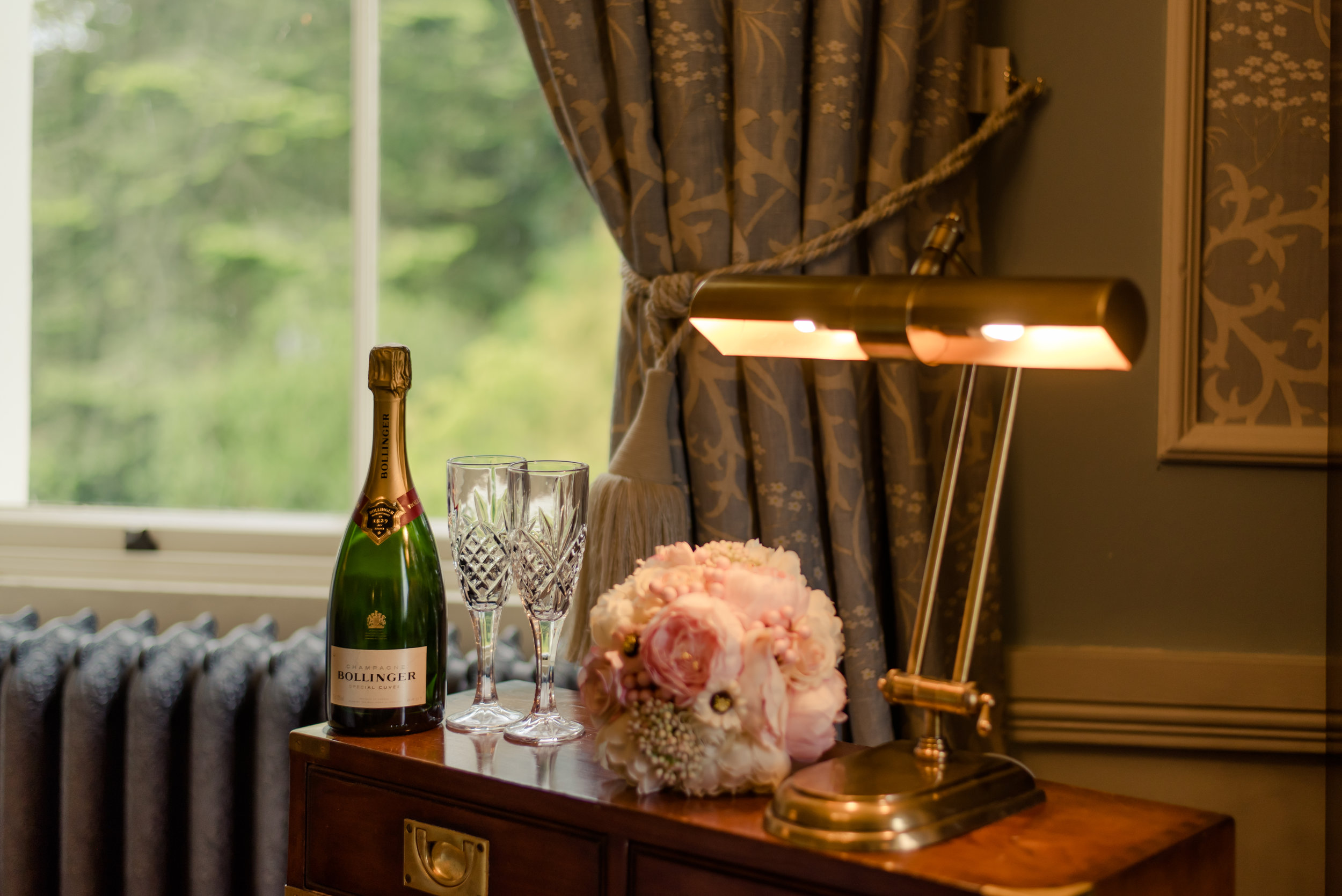 Tulfarris Hotel & Golf Resort briday suite with flowers and champagne.jpg