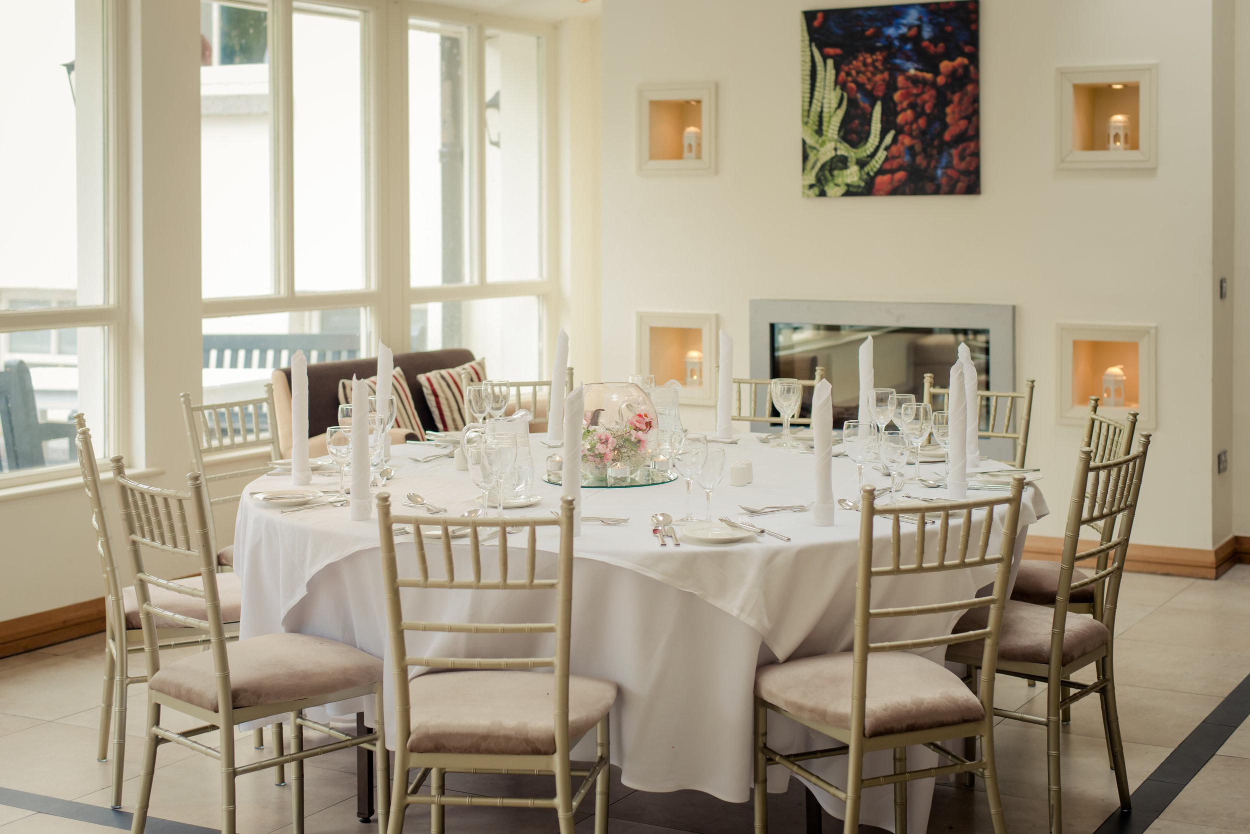 Tulfarris Hotel & Golf Resort Manor House Bar wedding setting with fireplace.jpg