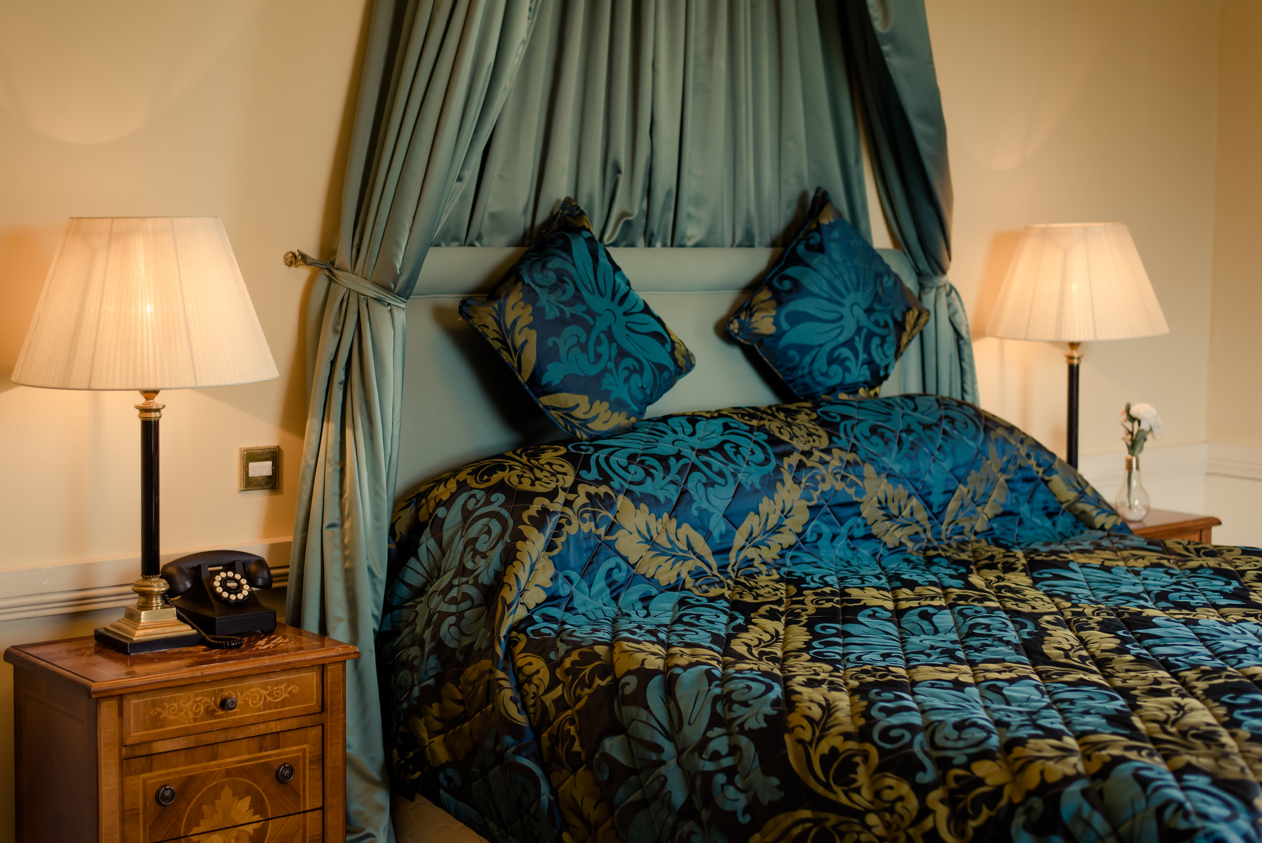 Tulfarris Hotel & Golf Resort Manor House plush bed setting.jpg
