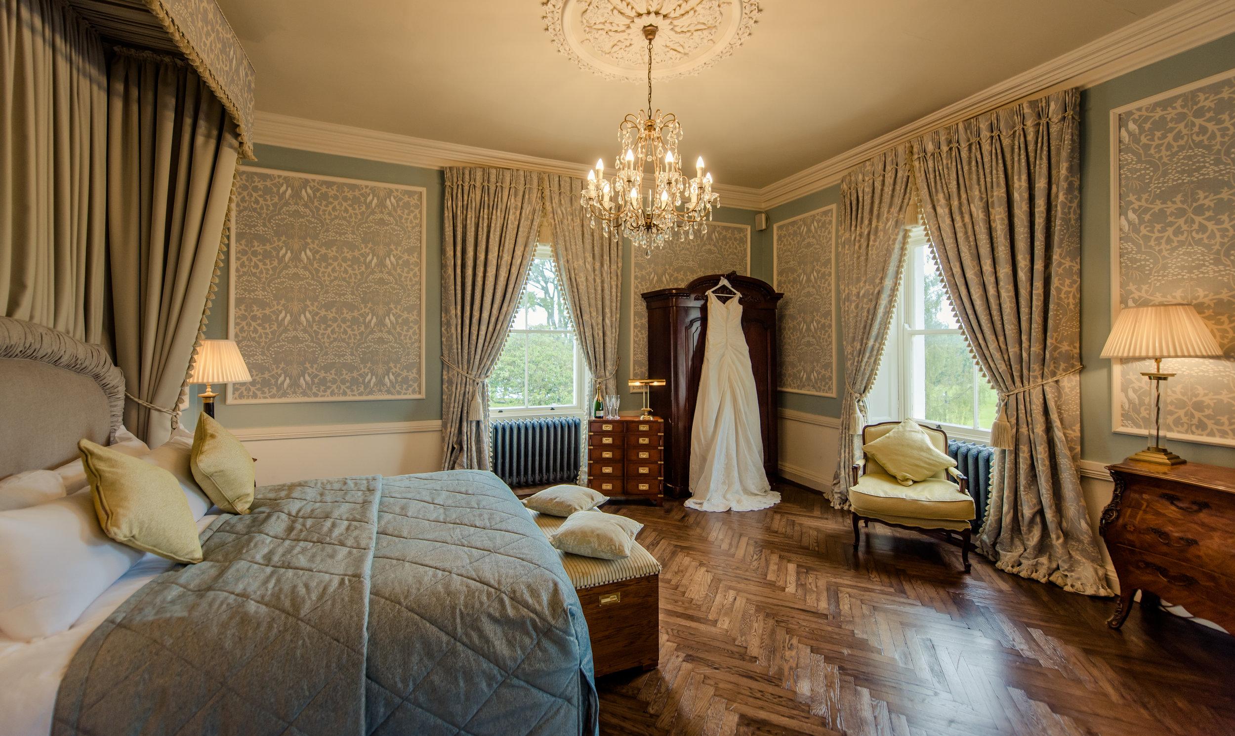 Tulfarris Hotel & Golf Resort Wych Hazel bridal suite full room view with wedding dress.jpg