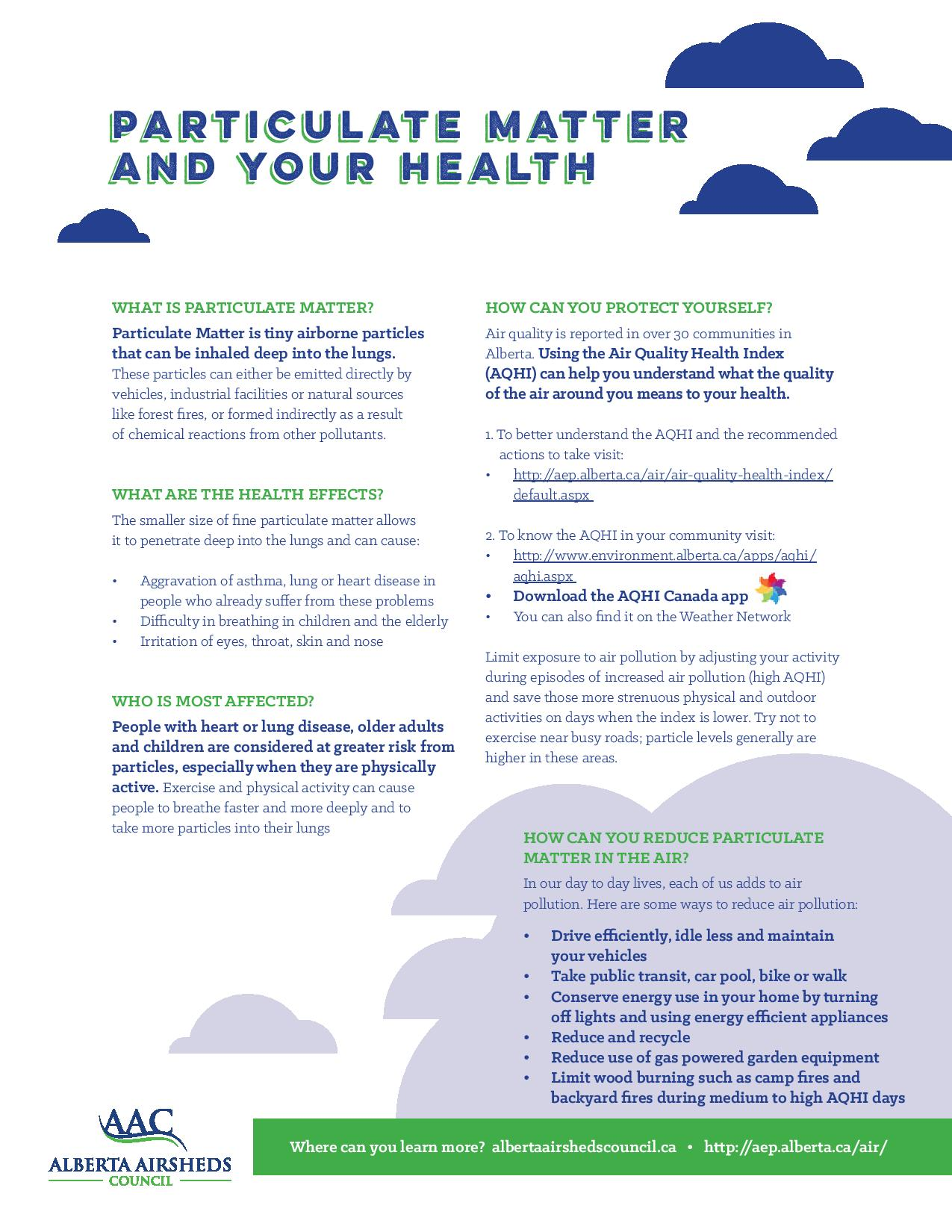 Clean Air Factsheet - Particulate Matter and Your Health