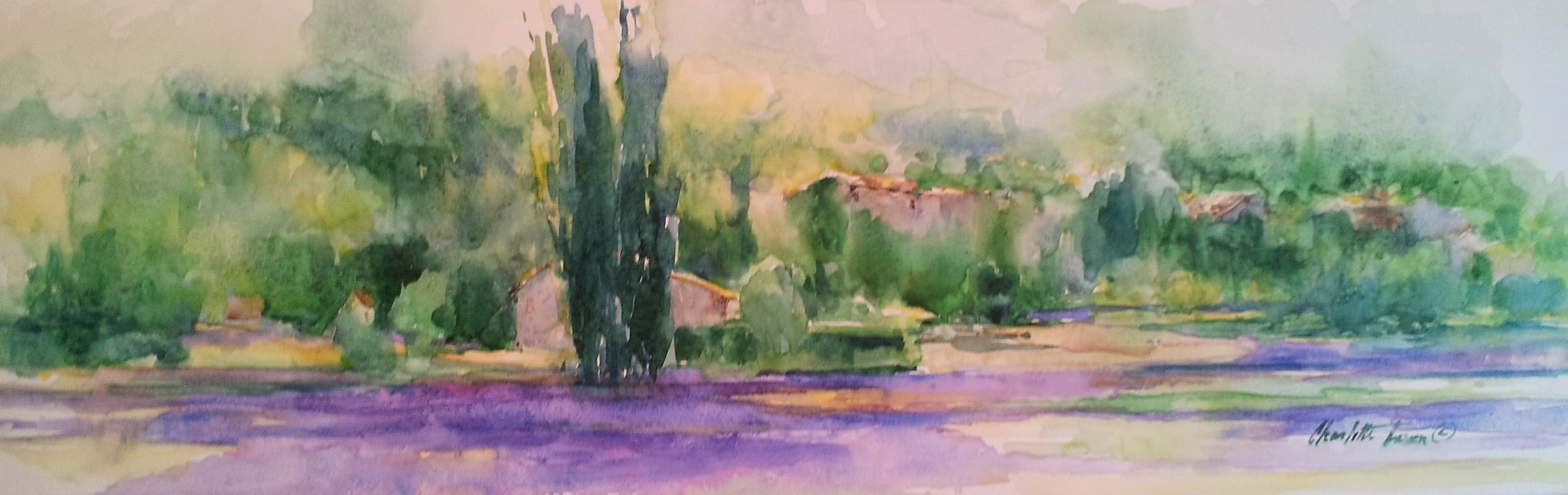"Lavender Country  12"" x 36"" watercolor on canvas"