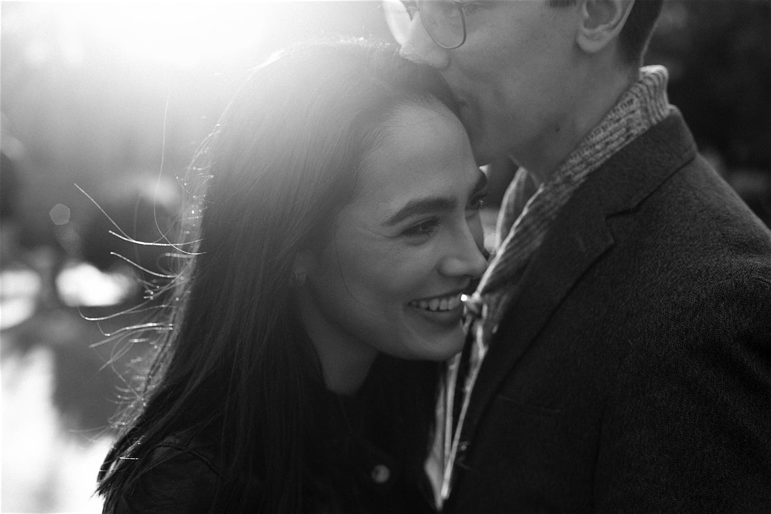 Washington square park engagement shoot black and white