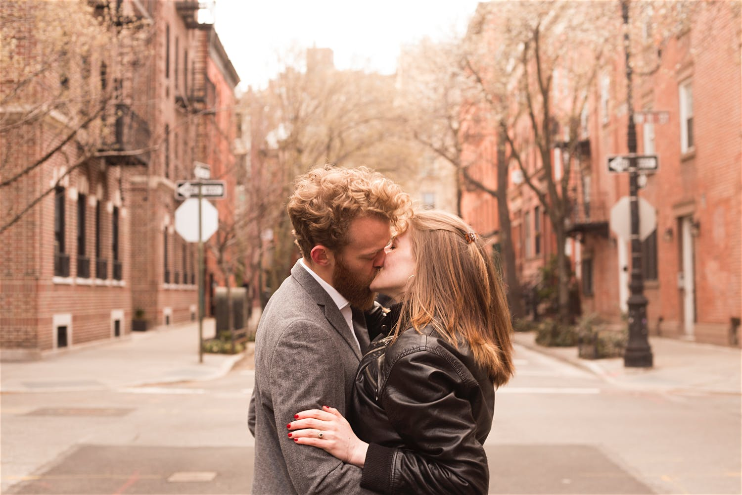 couple poses idea kiss engagement shoot ideas west village