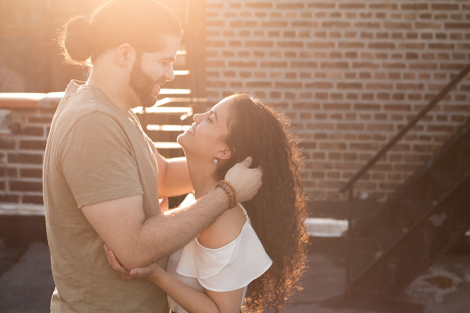 rooftop manhattan engagement couple portraits