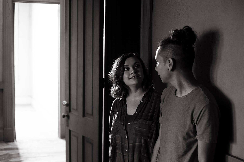 couple black and white moody dark couple photographer